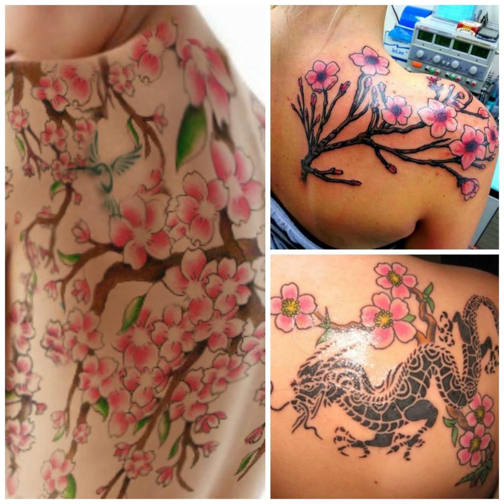 tatouage fleurs de cerisier dos