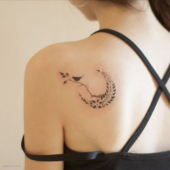 tatouage oiseau romantique