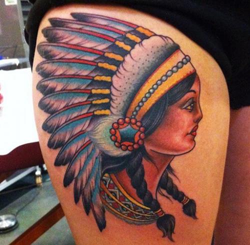 tatouage indien cuisse 2